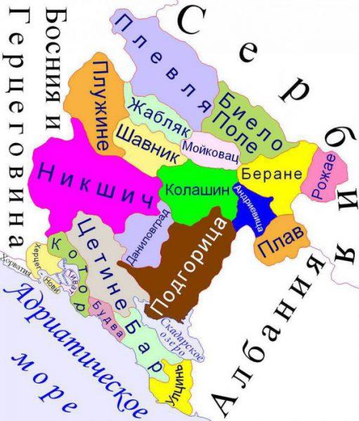 административное деление черногории